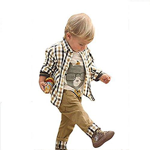 chinatera 3pcs Fall Baby Boy Clothes:Cartoon Tops+Checked Shirt+Solid Pants