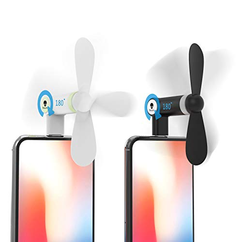 Stouchi Fan for iPhone, iPhone Fan iPhone Mini Fan Portable Dock Cool Cooler 180 °Rotating Fan Compatible for iPhone X/iPhone 8/7 / 6 Plus iPad Mini Black and White