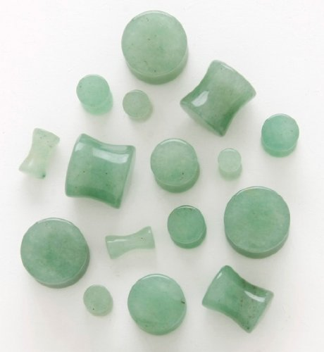 Nice PAIR Of Organic Natural Light Green Jade Aventurine Stone Plugs   4G / 5MM Great Pictures