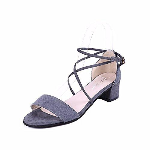Ouvertes Chaussures Épais Avec D'Été Sandales Femme YUCH Gray Bandage EqxnWtpTv