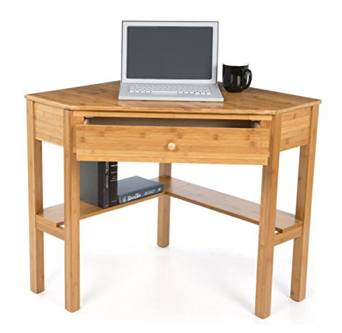 This classically styled desk utilizes a small space for a big impact, with stylish under-desk shelving and a drawer to hide clutter. Simple Living Wood Corner Computer Desk (Natural Bamboo)