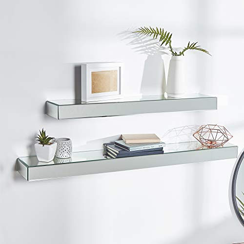 - Beautify Set of 2 Silver Mirrored Glass Shelves Floating Wall Shelf Display Ledges – Storage for Bedroom, Living and Hallway (Hardware Included)