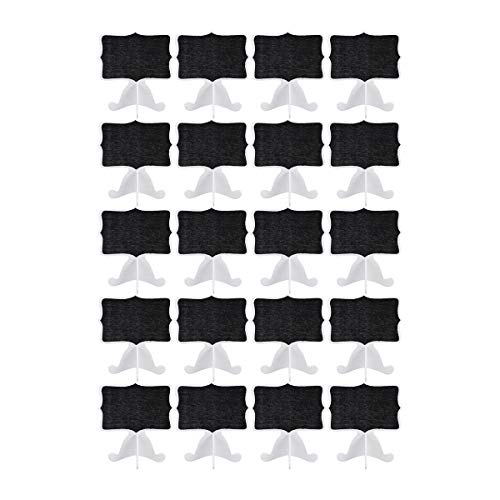 Artibetter 20pcs Mini Wooden Chalkboard Message Board Signs Wedding Table Place Card Blackboard with Stand for Wedding Party Decoration (White) -