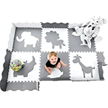Baby Play Mat with Large Interlocking Foam Floor Tiles. Grey and White Non Toxic Playmat for Baby, Toddler or Kids. Neutral for Nursery, Playroom or Living Room.