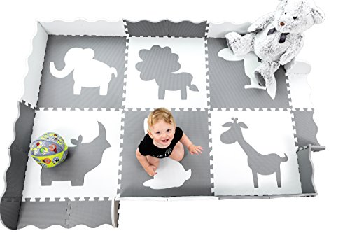 Large (5x7') Baby Play Mat with Interlocking Foam Floor Tiles. Neutral Baby Playmat for Nursery, Playroom Or Living Room