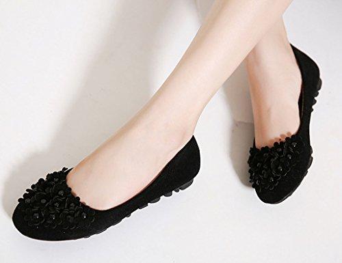 Pu Negro Zapatos Moda Monocromo Colegio Cómodo Mujer Plano Bailarinas Decoración Flor Estilo Shoes 7RqtxaFS