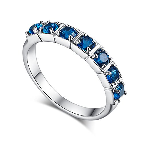 Psiroy 925 Sterling Silver Created Blue Sapphire Filled Half Eternity Stacking Ring (Half Eternity Ring Band)
