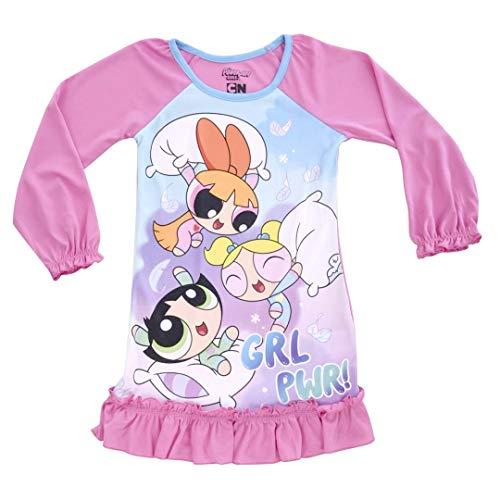 Powerpuff Girls Girls Big Pillow Fight Jersey Nightgown, Pink, Medium