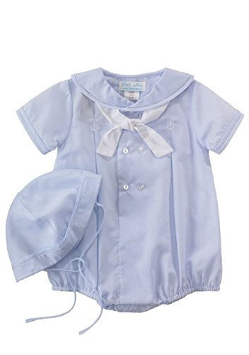 Baby Boys Sailor Suit Romper with Embroidered Anchors & Necktie (6 Months)