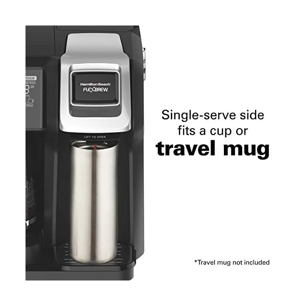 Hamilton Beach 49976 FlexBrew Coffee Maker, Single Serve & Full Pot, Compatible with K-Cup Pods or Grounds, Programmable, Black (49976)