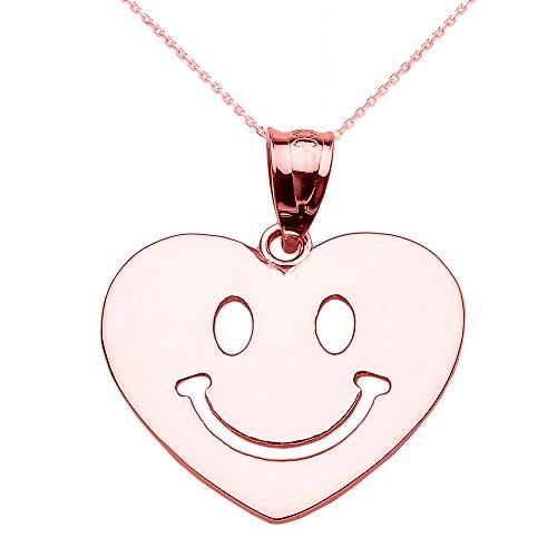 Collier Femme Pendentif 14 Ct Or Rose Heureux Smiley Visage Cœur (Livré avec une 45cm Chaîne)