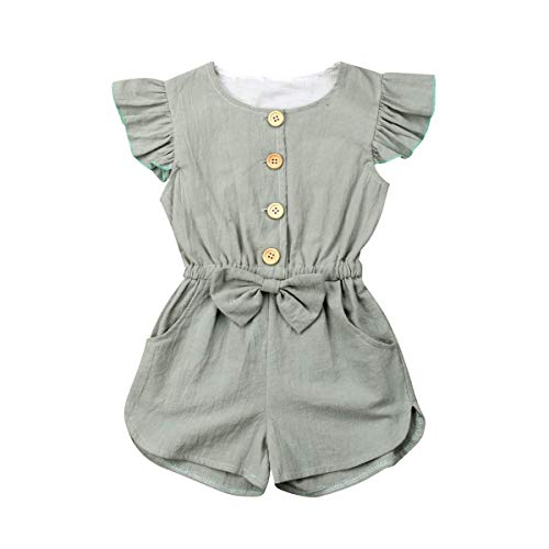 citgeett Toddler Kids Baby Girl Button Sleeveless Ruffle Playsuit Jumpsuit Solid Color Bow Romper Summer Clothes (Green,3-4 Years)]()