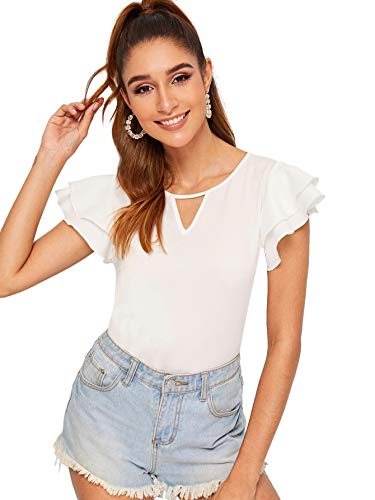 WDIRARA Women's Round Neck Cut Out Ruffle Layered Short Sleeve Blouse top White M (Blouse Layered Ruffle)
