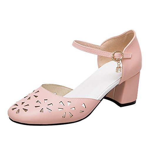 Mee Shoes Women's Sweet Block Heel Ankle Strap Court Shoes Pink Wj3wxy