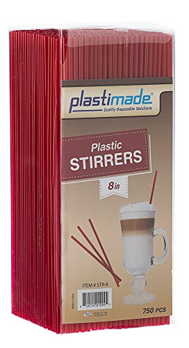 Plastimade Plastic Sip Stirrers 8 Inch 750/box, Red For Sale