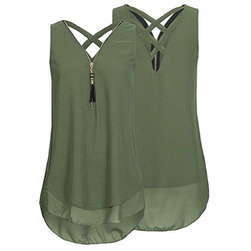 Rovinci Tops T Unregelmäßigkeit zurück Ärmellos V Reißverschluss Damen aushöhlen Grün Weste Shirt Frauen Vorne Hemdbluse Elegant Sommer Unterhemd Bluse Tank Ausschnitt Chiffon PHH8n