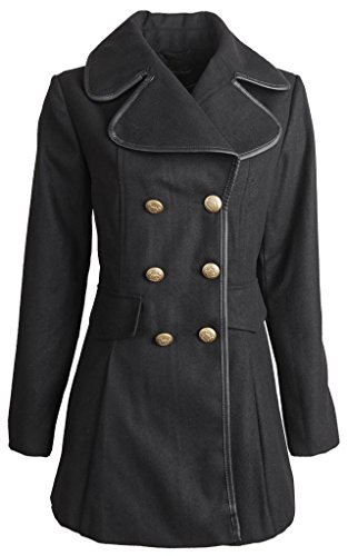 Harve Bernard Clothing (Harve Benard Women's Double Breasted Wool Blend Dress Jacket - Black (Medium))
