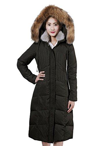 XIAOLV88 Women's Hooded Warm Real Fur Collar Duck Long Down Coat Jacket Black