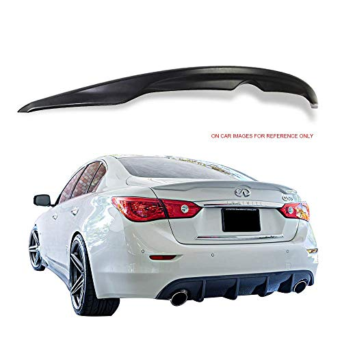 Trunk Spoiler Fits 2014-2019 Infiniti Q50 Sedan | Factory Style Unpainted ABS Rear Trunk Wing Deck Lid by IKONMOTORSPORTS