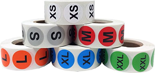 InStockLabels XS-XXL Color Coded Clothing Size Stickers 3/4 Inch 500 Stickers Per Size 3,000 Total Adhesive Stickers