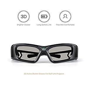 APEMAN 3D Glasses DLP Series Rechargeable Glasses Hi-Brightness/Hi-Contrast Compatible with All DLP 3D Projectors - 2PACK by apeman
