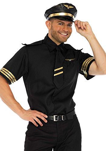 Leg Avenue Men's 3 Pc Pilot Costume, Black, MEDIUM