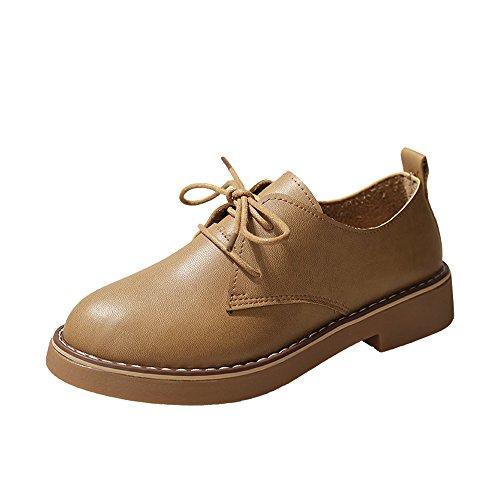 [해외]Women Ankle Flat Sneakers Loafer Shoes Oxford Leather Lace Up Casual Shoes Short Boots / Women Ankle Flat Sneakers Loafer Shoes Oxford Leather Lace Up Casual Shoes Short Boots Brown