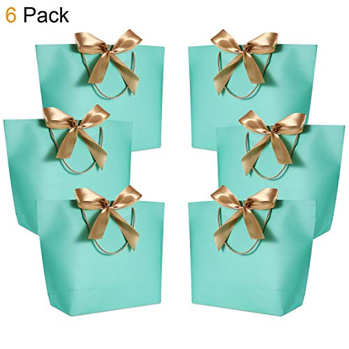 Tiffany Blue Gift Bags (Gift Bags with Handles- WantGor 14.2x10.2x4.3inch Paper Party Favor Bag Bulk with Bow Ribbon for Birthday Wedding/Bridesmaid Celebration Present Classrooms Holiday(Blue-Green, Large- 6)