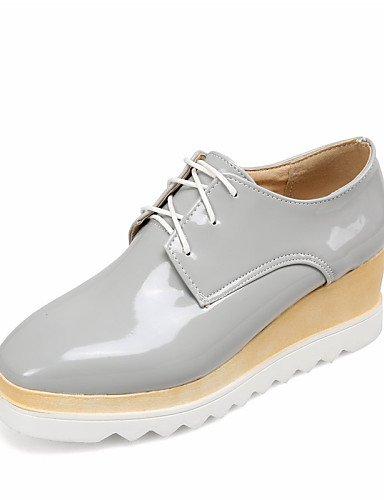 NJX/ hug Damenschuhe-High Heels-Outddor-Lackleder-Keilabsatz-Wedges / Creepers / Quadratische Zehe-Schwarz / Weiß / Silber / Grau gray-us7.5 / eu38 / uk5.5 / cn38