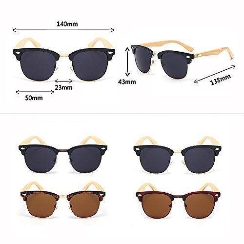 Color Gafas de UV sol Bamboo Leopard Ultra Anti Glasses Polarizer que grain Leg de SSSX sol hombres Black de Gafas Retro los GYYTYJ conducen Neutral Marrón qpBwaq