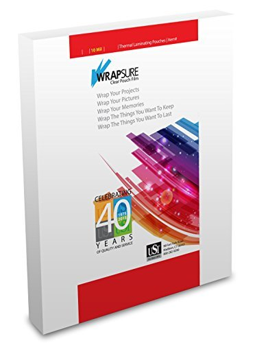 USI WrapSure Thermal Laminating Pouches, Letter Size, 10 Mil, 9 x 11.50 Inches, Clear, Gloss Finish, 50-Pack