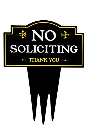 - Brookfield Products No Soliciting Sign for Home with Stake | Unique Triple Self Staking Design | Heavy Duty Dibond Aluminum | No Salesmen, No Solicitors Yard Sign | Stakes Easily in Lawn