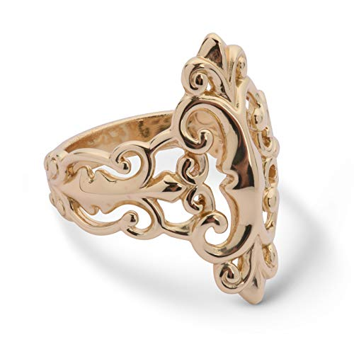 Carolyn Pollack Sterling Silver 14K Gold Plated Open Work Filigree Ring Sizes 8