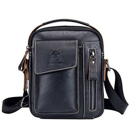 Hebetag Vintage Leather Shoulder Crossbody Bag for Men Business Casual Messenger Briefcase Handbag Mens Phone Wallet Tote Day Pack Black
