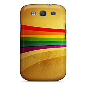 KarenJohnston Scratch-free Phone Case For Galaxy S3- Retail Packaging - Grunge Rainbow Stripe