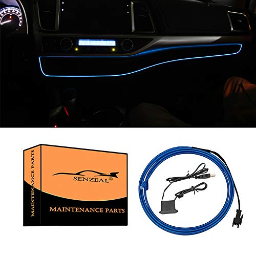Senzeal 1M/39Inch Car LED Strip Light, Neon Panel Gap String Strip Light Interior Decor Atmosphere Strip Lamp PVC Glowing Wire Lamp for Toyota Highlander 2014 2015 2016 2017 2018 2019 Blue
