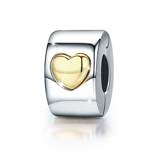 Heart Clip Charm Love you Forever 925 Sterling Silver Lock Spacer Stopper Bead Charm for Bracelet BJ09005 by Forever Queen
