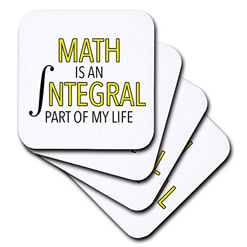 3dRose EvaDane - Funny Sayings - Math Is An Integral Part Of My Life Yellow - set of 4 Ceramic Tile Coasters (cst_310823_3) ()