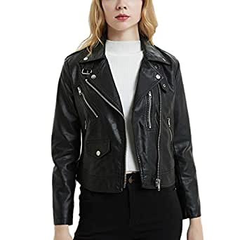 DISSA PP2016Y1 Women Faux Leather Biker Jacket Slim Coat Leather Jacket,Black,S,UK 8