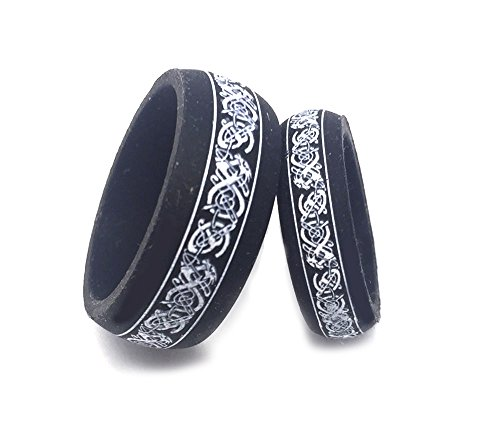 Celtic Wedding Set - GiftsWithThought His & Her's 9MM/6MM Flexible Silicon Rubber Celtic Knot Dragon Design Wedding Band Ring Set