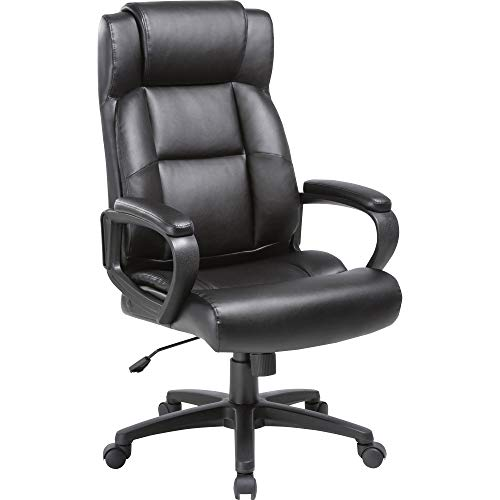 Lorell LLR41844 Soho High-Back Leather Executive Chair Black ()