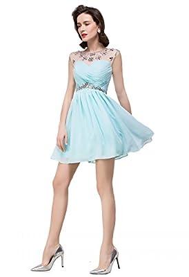 MisShow Elegant Mini Bridesmaid Cap Sleeve Prom Evening Dresses