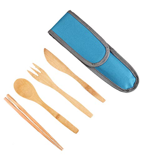 Jonerytime❤️Bamboo Travel Utensils Utensil Set with Carrying Case Hiking Camping Outdoor (Blue)