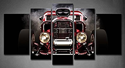 5 Panel Wall Art Hot Rod With Smoke Background On Black Painting The Picture Print On Canvas Car Pictures For Home Decor Decoration Gift piece (Stretched By Wooden Frame,Ready To (Hot Pictures For Bedroom)