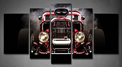 5 Panel Wall Art Hot Rod With Smoke Background On Black Painting The Picture Print On Canvas Car Pictures For Home Decor Decoration Gift piece (Stretched By Wooden Frame,Ready To Hang)