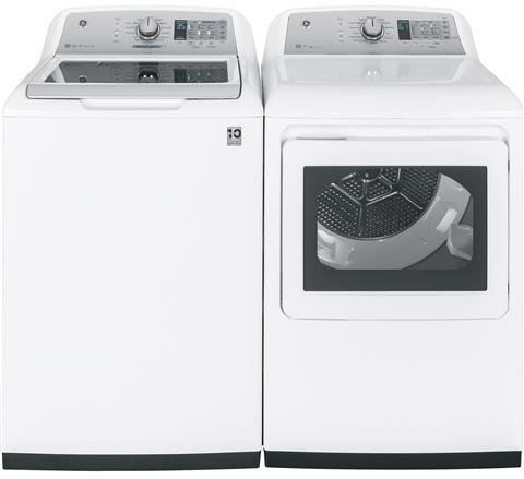 """GE White Top Load Laundry Pair with GTW750CSLWS 27"""" Washer a"""