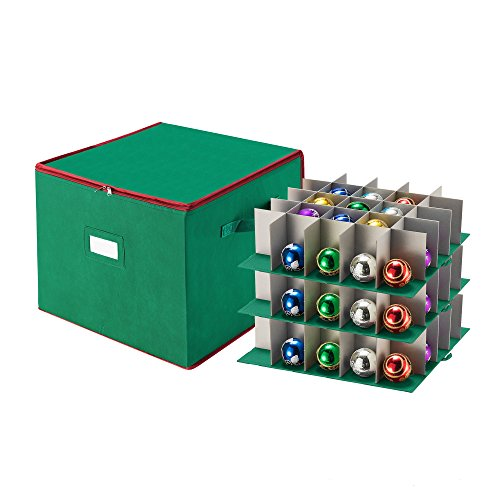 Tiny Tim Totes Green Christmas Ornament Storage Chest Holds 75 Balls w/ Dividers