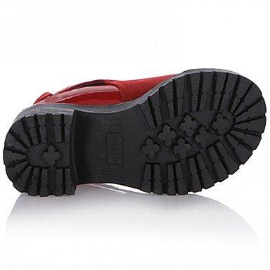 Tacón Robusto Negro Cms Red Pu amp;xuezi Mujer 7 Gll Invierno Otoño Casual 5 Botas Rojo Confort B4vqz8C