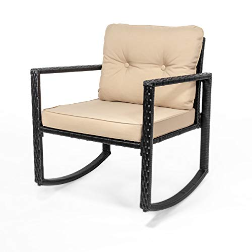 Barton Patio 3pcs Set Patio Wicker Rattan Bistro Rocker Chair Cushion with Glass Coffee Table