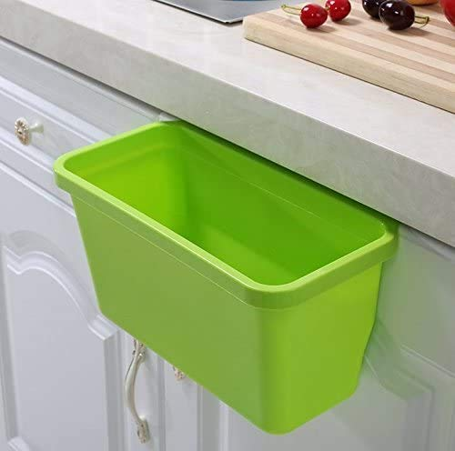SKEMIX Pack of 2 Over The Cabinet Basket Wastebaskets, Multifuctional Hanging Trash Can Waste Bins Garbage Containers (Green, Blue, )